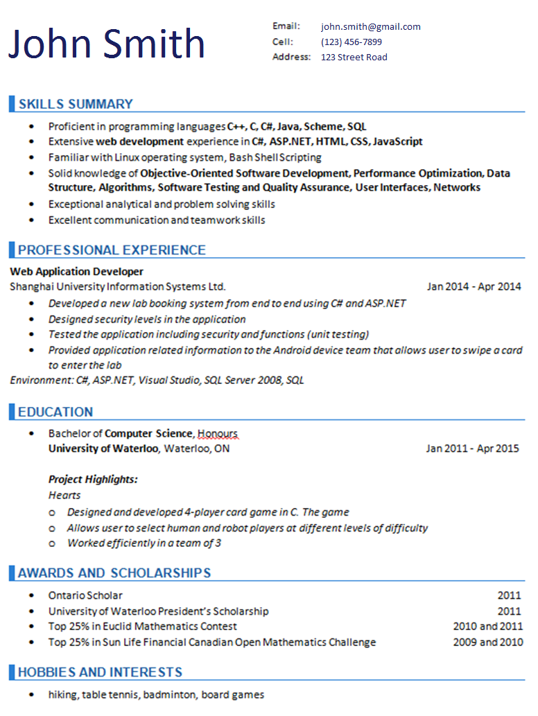 Resume Sample 1